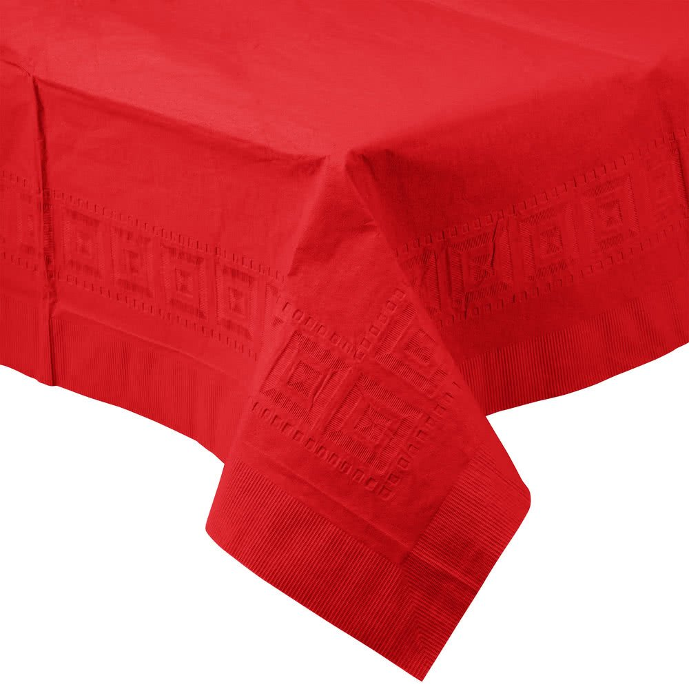 711031B 54'' x 108'' Classic Red Tissue / Poly Table Cover - 24/Case By TableTop King