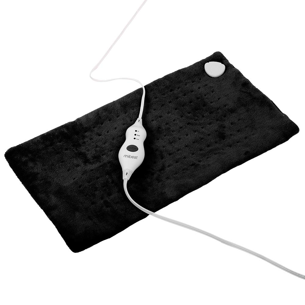 "MIBEST XXXL Heating Pad with Fast-Heating Technology - 3 Temperature Settings Heat Pad with LED Indicators - XXX Large Charcoal Gray Pad (12"" x 24"")"
