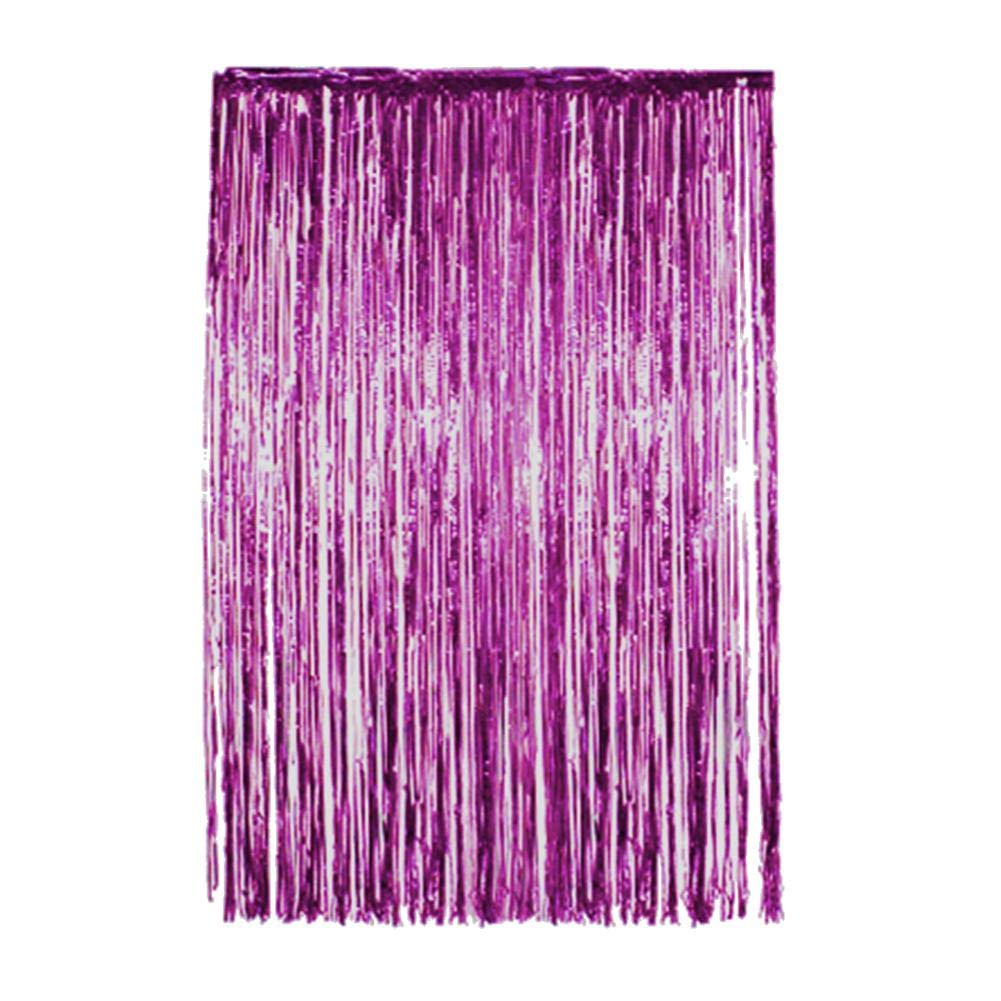 4 Pack Purple Metallic Foil Curtains Shiny Tinsel Fringe Curtains Shimmer Door Window Curtain for Birthday Wedding Party Christmas Photo Backdrop Decoration