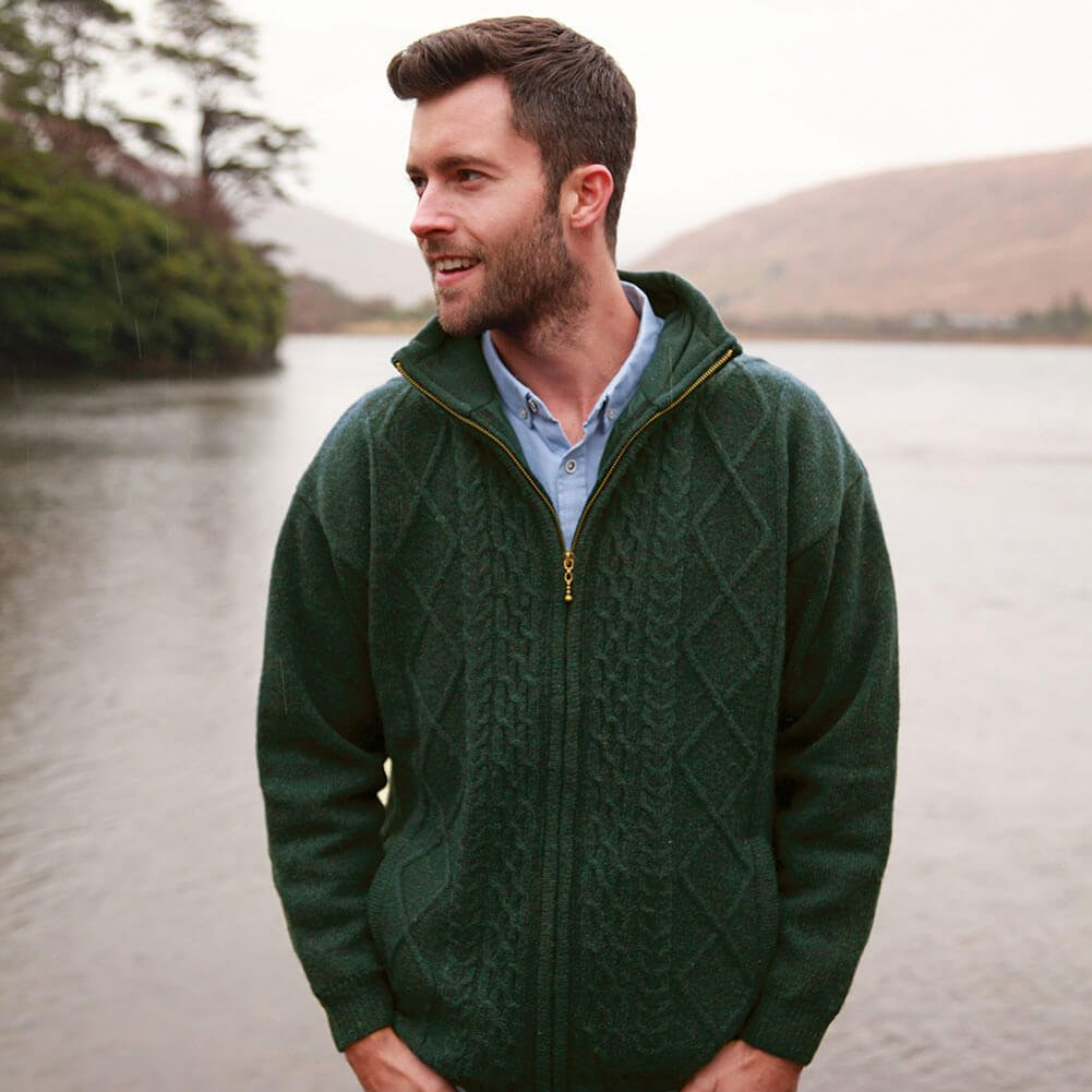 Men's Vintage Sweaters – 1920s to 1960s Retro Jumpers Carraig Donn Traditional Irish Wool Sweater Men Full Zip Front Pockets Green $94.95 AT vintagedancer.com