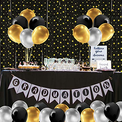 Black Gold Party Backdrop Decoration Set, 2pcs 3.3x6.6ft Black Foil Fringe Curtain and Black Gold Silver Balloons for Birthday Party, Anniversary, Graduation, Prom