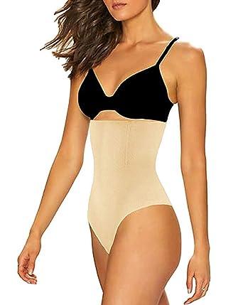 10a40efea552 FLORATA Womens High Waist Panty Body Shaper Slim Tummy Control Underwear  Cincher Thong,Beige,