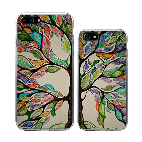 iPhone 7Plus+7 Couple Case-TTOTT 2x Floral Season Tree Life Painting Best Friend BFF Lovers Boyfriend Girlfriend Couple Matching Slim Soft Silicone Bumper Case[Left for iPhone 7Plus Right for iPhone7]]()
