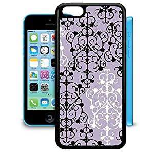 Bumper Phone Case For Apple iPhone 5C - Black & White Damask Snap-On TPU