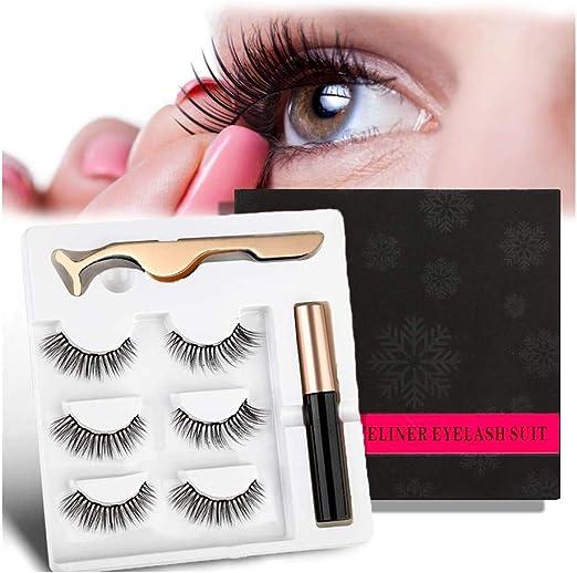 Imagen deSuprcrne Professional Magnetic Eyeliner Magnetic Lash Eyeliner Kit de larga duración a prueba de agua con 3 pares de pestañas magnéticas falsas con pinzas