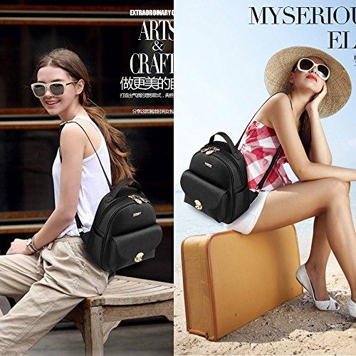 mochilas mini mujer Mochilas tipo casual Bolsas Escuela bolsos de viaje mujer mochila cuero pu Blanco and Negro Bolsos Mochila Blanco Bolsos Mochila