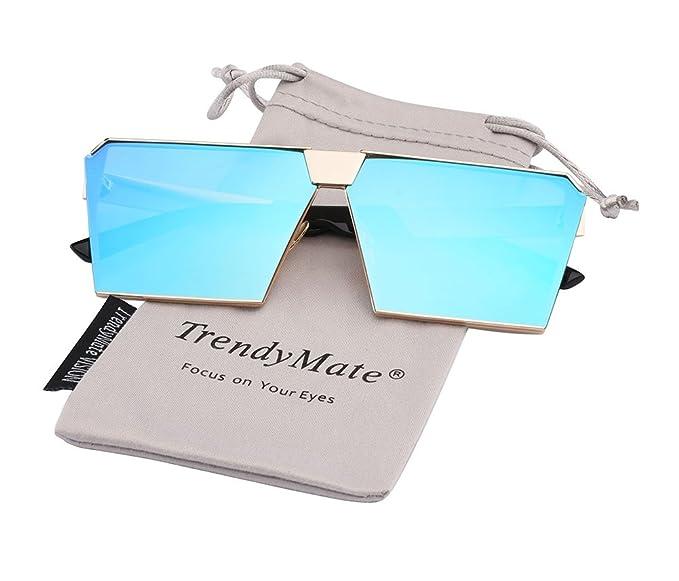 2cea6b84661 TrendyMate-Womens Men Reflective Color Mirror Lens Large Square Metal  Rimmed Sunglasses Unisex (Gold