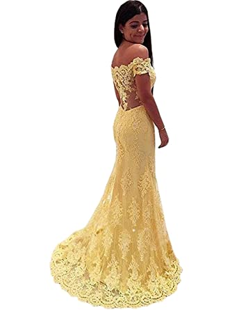 Long Off Shoulder Prom Dresses Lace Applique Bridesmaid Dress Evening Party Gowns