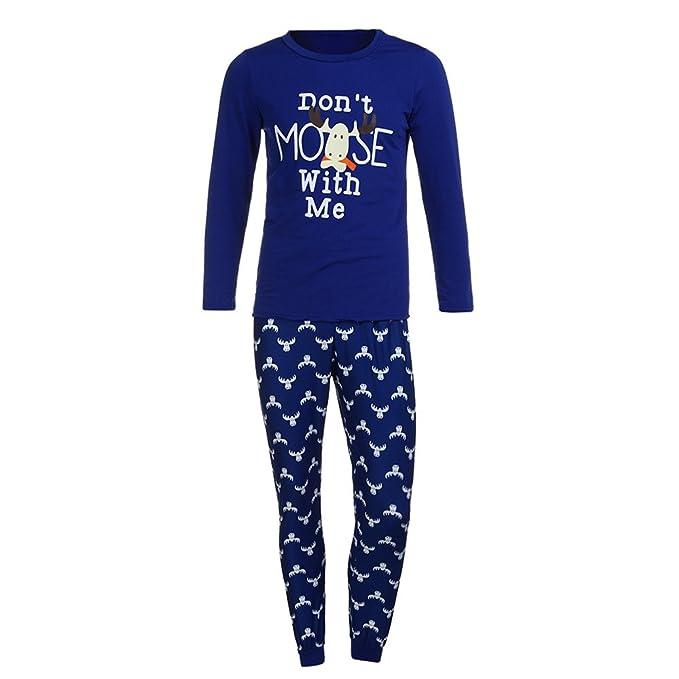 Zarupeng Equipo para Padres e Hijos Conjunto de Pijamas de Navidad Conjunto Ropa de Dormir para
