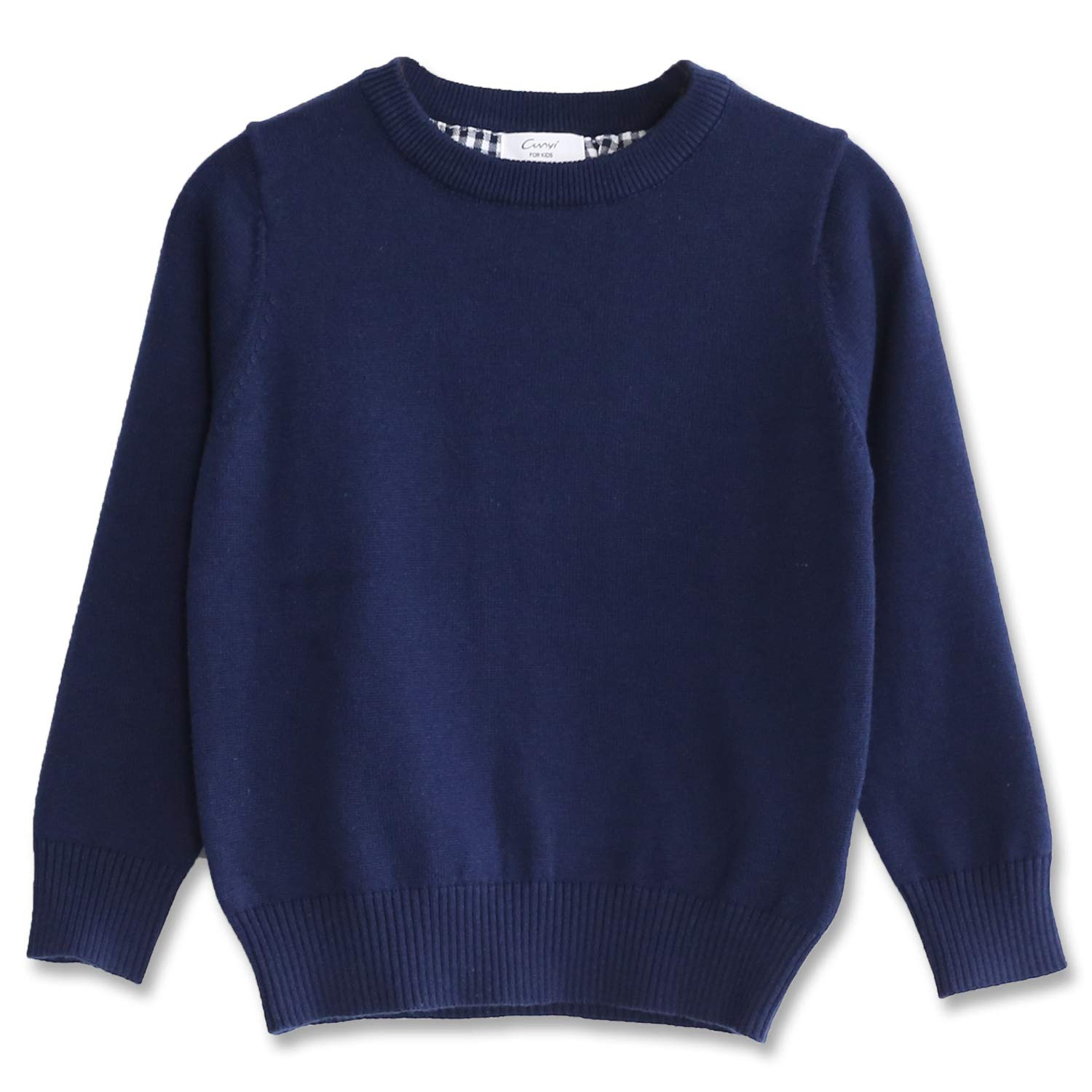 CUNYI Boys' Long Sleeve Crew Neck Cotton Pullover Knit Sweater, Navy Blue, 120