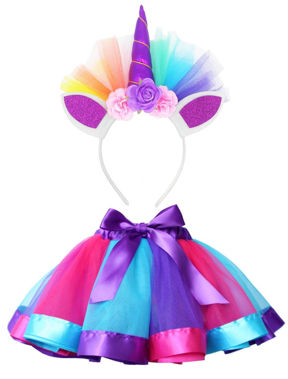 LYLKD Little Girls Layered Rainbow Tutu Skirts with Unicorn Horn Headband 3