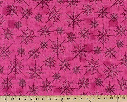 Cotton Black Spiderwebs Spider Webs Spooky Cobwebs on Pink Eerie Alley Halloween Girls Kids Children's Cotton Fabric Print by the Yard (9836) -
