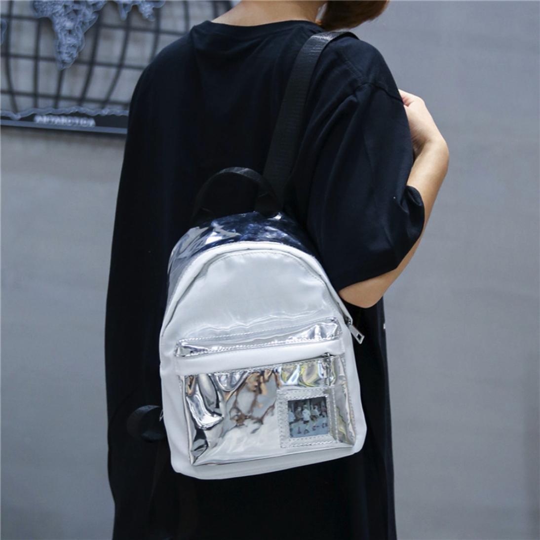 DDLBiz Women's Fashion Holographic Backpack Girl School Shoulder Bags Travel Rucksack (White)