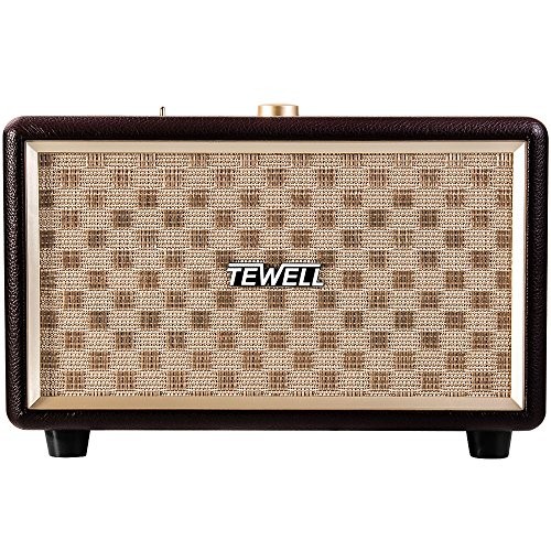 TEWELL RetroRock AC Powered Bluetooth Speakers with 24W Audio Output and Enhanced Bass for Echo / Echo Dot / Phone / Tablet etc (Brown)