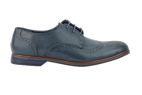 Xposed - Zapatos de cordones de piel sintética para hombre Tan-Black y0iWHzi