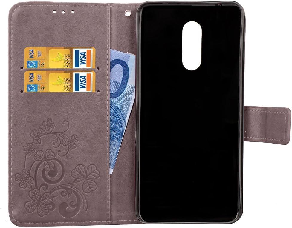 H/ülle Leder Case mit Standfunktion Magnetverschluss Flipcase Klapph/ülle kompatibel mit Xiaomi Redmi 5 Plus Docrax Xiaomi Redmi 5Plus Handyh/ülle DOSDA041771 Grau