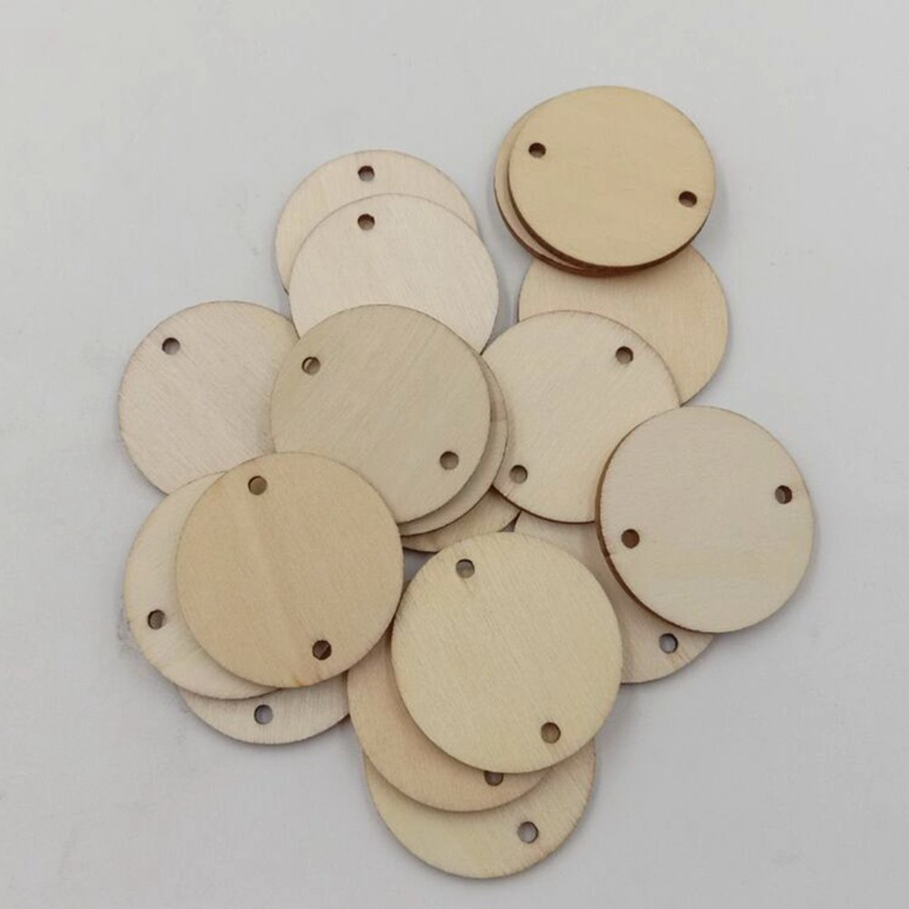 VORCOOL 100pcs Unfinished Wood Discs Wooden Circles Tags Slices Discs with 2 Holes for DIY Scrapbooking Wedding Crafts 35MM