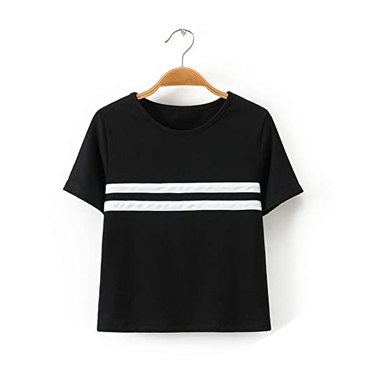 3cecd52f4c Women Two Striped Fitted Soft Cotton Tee Casual Short Sleeve T-Shirt,Black,