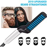 Beard Straightener for Men, Beard Straightening Brush Ionic Electric Hair Comb, Hair Straightener … (White)