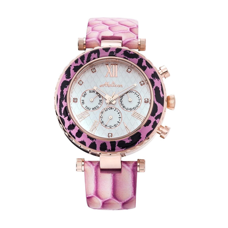 Kristall-Uhr Swarovski Elements und Rosen Schlange Kunstleder -Armband - Blue Pearls - CW 0034 M