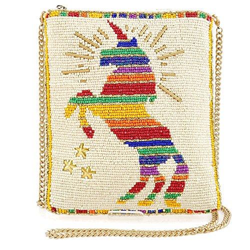 Beaded Top Magic (MARY FRANCES Unicorn Magic Beaded Rainbow Unicorn Themed Zipper Top Mini Crossbody Handbag)