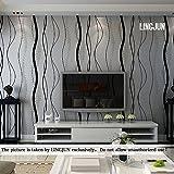 Modern Minimalist Non-woven Water Plant Pattern 3D Flocking Embossed Wallpaper Roll Living Room Bedroom Black Grey