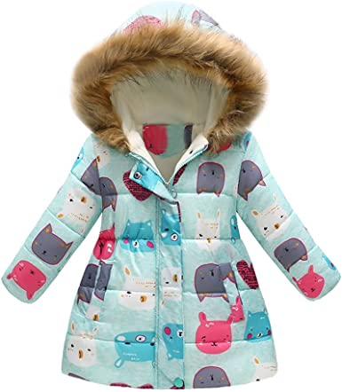For 3-7 Years Old Baby Girls Thick Padded Outwear with Hood BURFLY Kids Girls Long Coat Jacket Cute Bowknot Warm Parka Jacket