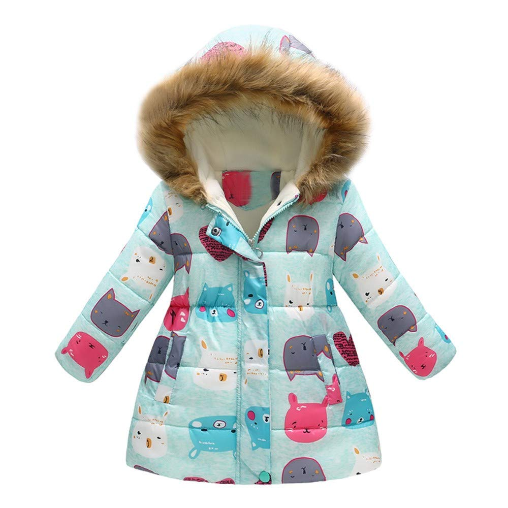 Willsa Baby Girls Jacket, Fashion Cute Soft Comfortable Toddler Baby Winter Cartoon Print Warm Jacket Hooded Windproof Coat