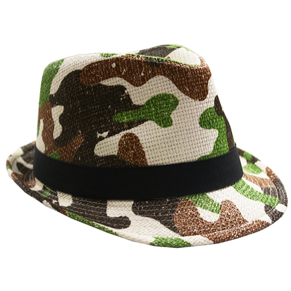 SILVERFEVER Silver Fever Thin Brimmed Woven Fedora Hat (Camoflauge)