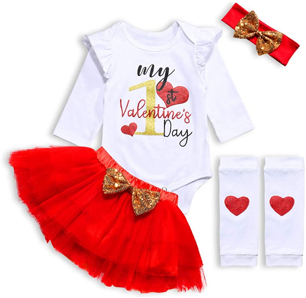 Our 1st Fathers Day Infant Baby Girl Outfits Letter Printed Romper Bodysuit+Tutu Skirt+Headband 3pcs Dress Set
