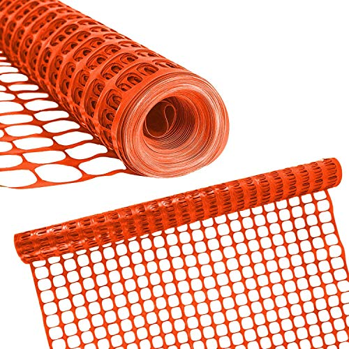 - Houseables Dog Fence, Garden Fencing, 4' x 100', 1 Pack, Orange, Plastic, Mesh, Poultry Netting, Animal Barrier, Temporary Fences, For Above Ground Pool, Pet, Deer, Chicken, Snow, Dogs, Rabbit, Safety