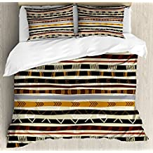 Tribal Duvet Cover Set King Size by Ambesonne, Ethnic African with Trippy Geometric Forms Primitive Heritage Wild Earthen Pattern, Decorative 3 Piece Bedding Set with 2 Pillow Shams, Multicolor