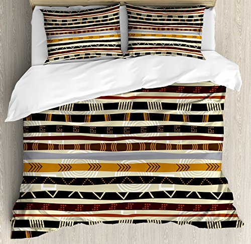 Ambesonne Abstract Duvet Cover Set Queen Size, Ethnic Style Geometric Forms with Striped Pattern on Bold Earth Tones Print, Decorative 3 Piece Bedding Set with 2 Pillow Shams, Orange Cream