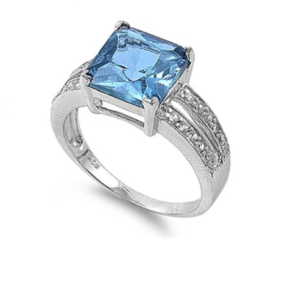 Simulated Princess Cut Center Aquamarine Cubic Zirconia Ring Sterling Silver Size 5