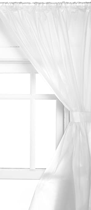 Carnation Home Fashions Vinyl Bathroom Window Curtain, Frosted Clear