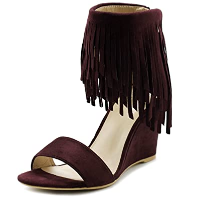 5fd8a7d369ae Ollio Womens Shoe Fringe High Heel Wedge Sandal HW03(6 B(M) US