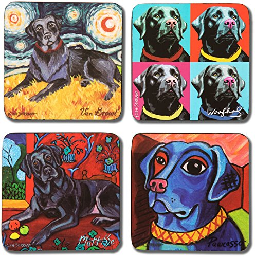 Pavilion Gift Company 12074 Paw Palettes ''Black Lab'' Coaster, 4 by 4-Inch, Set of 4 by Pavilion Gift Company