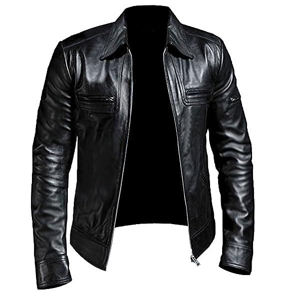 Mens Genuine Lambskin Leather Motorcycle Jacket Biker Slim Fit Collar Jacket