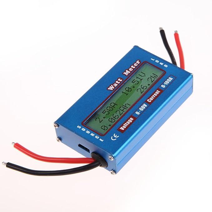 Medidor de potencia sencillo con monitor de Amazingdeal365,DC 12V 24V, mide vatios, voltios y amperios, apto para energía solar y eólica