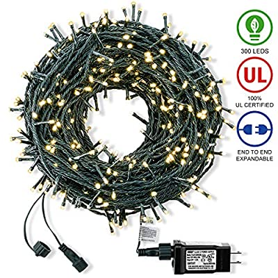 ROYAMY Outdoor Christmas String Lights 300 LED 105ft ,Warm White