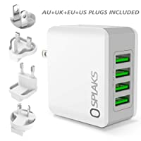 SPLAKS USB Charger, Universal International USB Wall Charger Plug UK/EU/US/AU 4 Ports Rapid 24W/5V 4.8A Multiple USB Charger with Multi-Protections Fast Charging Technology