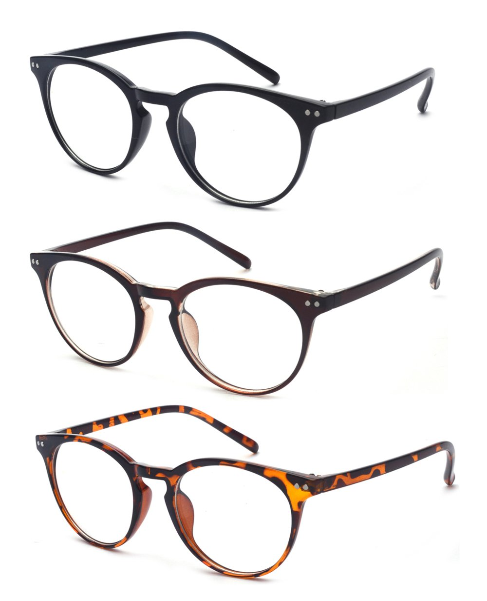 Outray Vintage Inspired Small Nails Round 3 Pack Spring Hinges Frame Reading Glasses 2.00