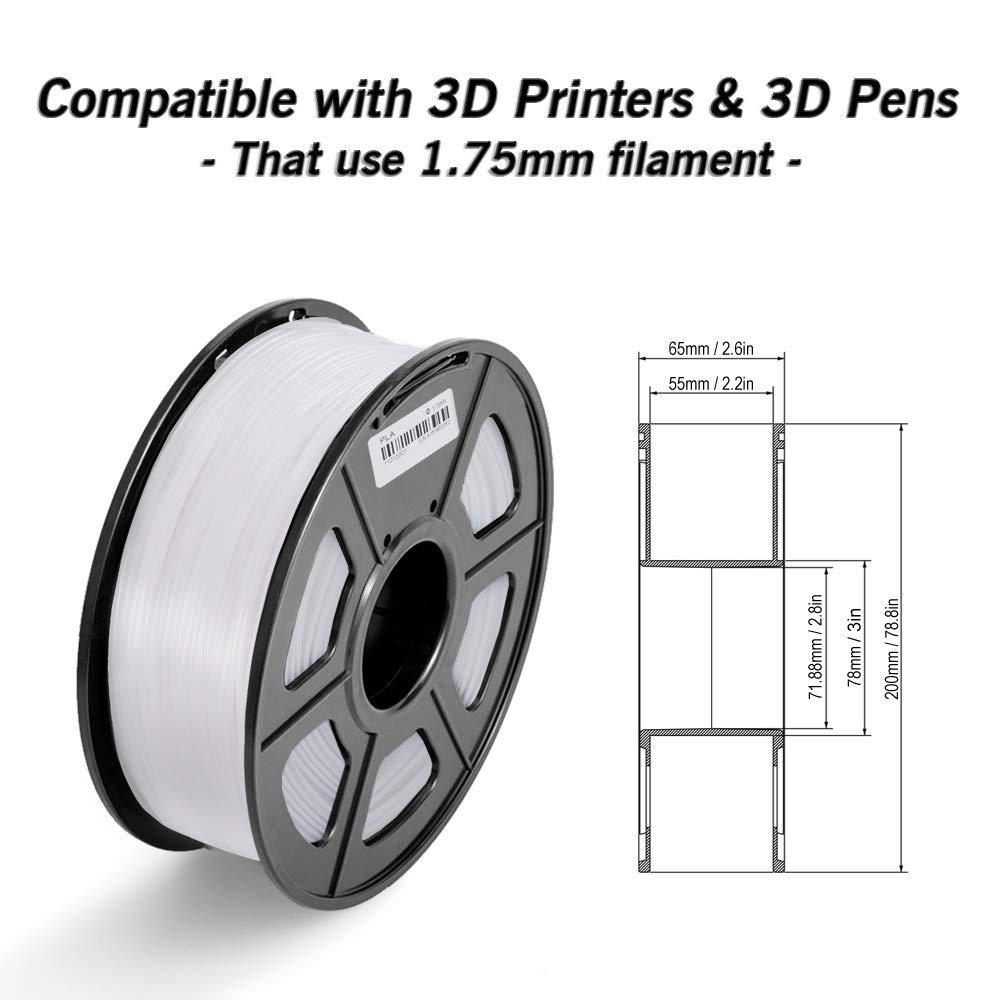 PLA Filament Black Bonus with 5M PCL Nozzle Cleaning Filament 2.2 LBS 1KG ,1.75mm Filament 3D Hero PLA Filament 1.75mm,PLA 3D Printer Filament Dimensional Accuracy +//- 0.02 mm