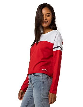 9e0588d7 Tommy Hilfiger Women's Long Sleeve Pullover Logo Sweater Sweatshirt Pajama  Top Pj at Amazon Women's Clothing store: