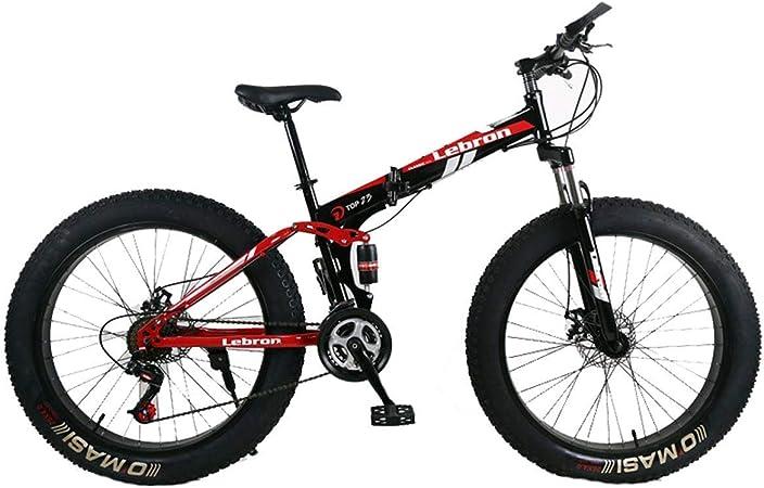 KOSGK Bicicleta MontañA Plegable Acero 26 Bicicletas Unisex SuspensióN Doble 4.0 Pulgadas Llanta Gorda Bicicleta Puede Ciclismo En La Nieve, MontañAs, Caminos, Playas, Etc, Rojo: Amazon.es: Hogar