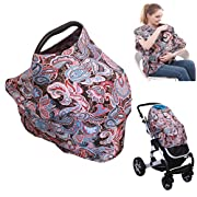 4-in-1 Nursing Top Cover: Soft and Breathable Breastfeeding Cover, Baby Car Seat and Stroller Protective Canopy, Oversized Fashion T-Shirt – Stretchy and Comfortable Poncho Shawl Paisley