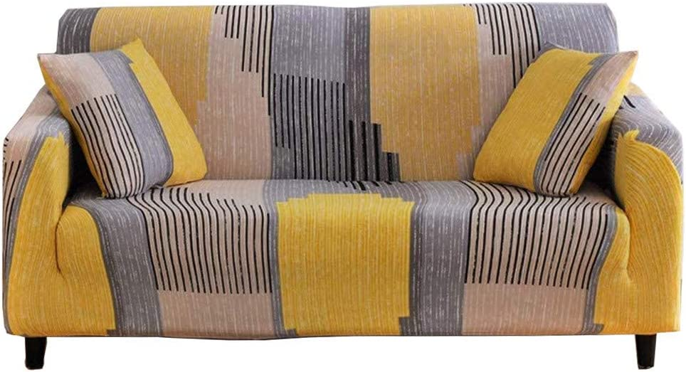 nordmiex Printeded Stretch Sofa Slipcover - 1 Piece Elastic Polyester Spandex Couch Covers- Universal Fitted Sofa Slipcover Furniture Protector with 2 Pillowcases(Loveseat Sofa,Yellowish-Brown)