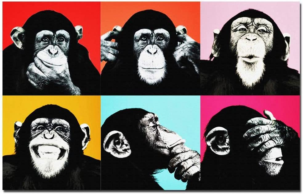MhY Andy Warhol Colorful Monkey Animal Poster Print Canvas Pinturas para Sala de Estar Wall Art Cuadros Pictures Sin Marco, Mono, 60x95CM SIN Marco