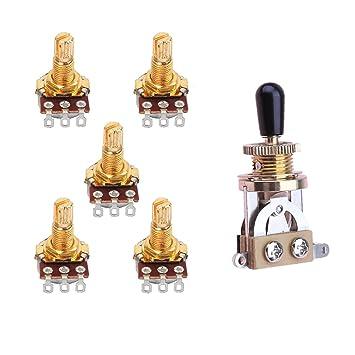 Baoblaze Interruptor de palanca de 3 Vías con Potenciómetro para Reemplazar/Actualizar Volumen y Controles