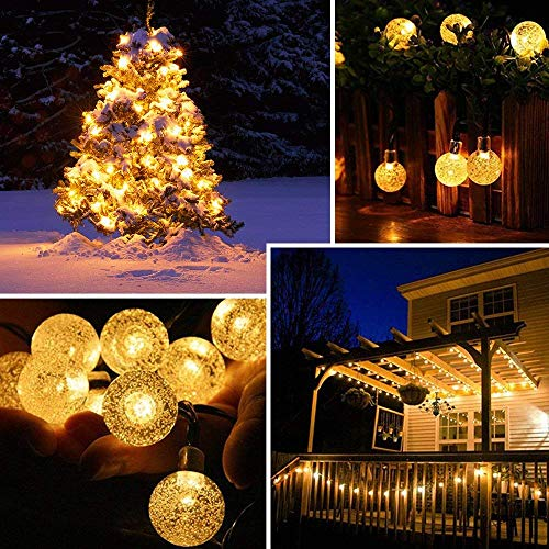 Nasharia 60 LEDs Solar Globe String Lights, 36FT Bubble Crystal Ball Fairy Lights Waterproof Outdoor Decorative String Lights for Garden Courtyard Home Patio Lawn Party Holiday,8 Modes and Warm White by Nasharia (Image #4)